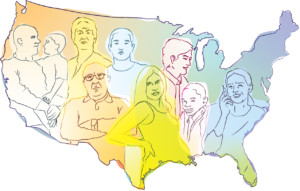 Illustration of people and the outline of the continental US