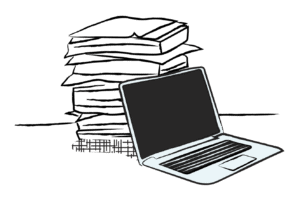 Illustration of a laptop computer next to a stack of paper