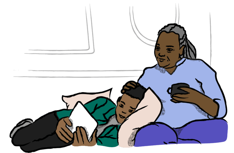 Illustration of a child lying down reading, leaning against an adult who is gently resting their hand on the child's head