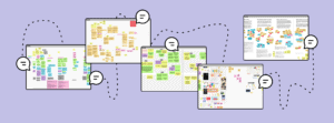 An illustration of several screens filled with brightly colored post its. Illustrated chat boxes are connected by a dotted line over a periwinkle background