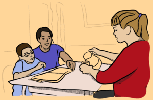 Illustration of two children and a child seated at a table, with a notebook and a pencil on the table, the adult pouring into a glass from a pitcher