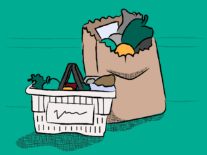 Illustration of groceries in a shopping basket and paper bag