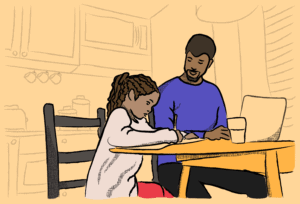 Illustration of an adult helping a child with their homework at a kitchen table