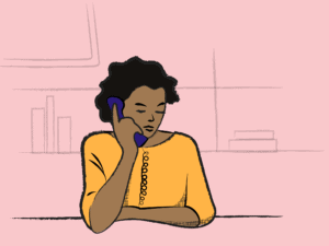 Illustration of an adult talking on a corded telephone