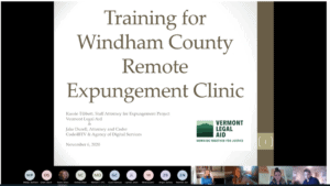 a zoom training for the expungement clinic