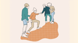 An illustration of four people climbing a mountainous shape; one is reaching back to help the other two behind