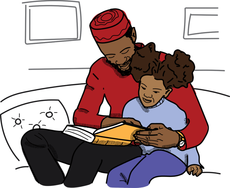 An illustration of an adult and child reading together