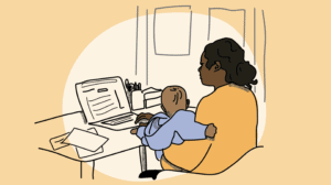 an illustration of a mother and baby at a computer