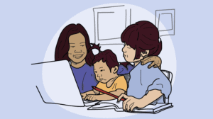 An illustration of a mother and two children at a computer