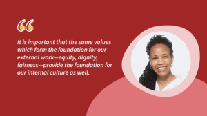 a red illustration of Leslie with a quote from the article