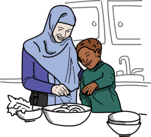 Illustration of an adult and a child cooking together