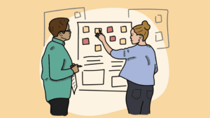 an illustration of two people looking at post-it notes on a wall
