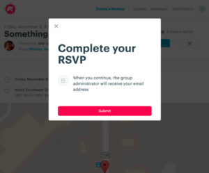 On a page of meetup.com, a pop-up modal window reads